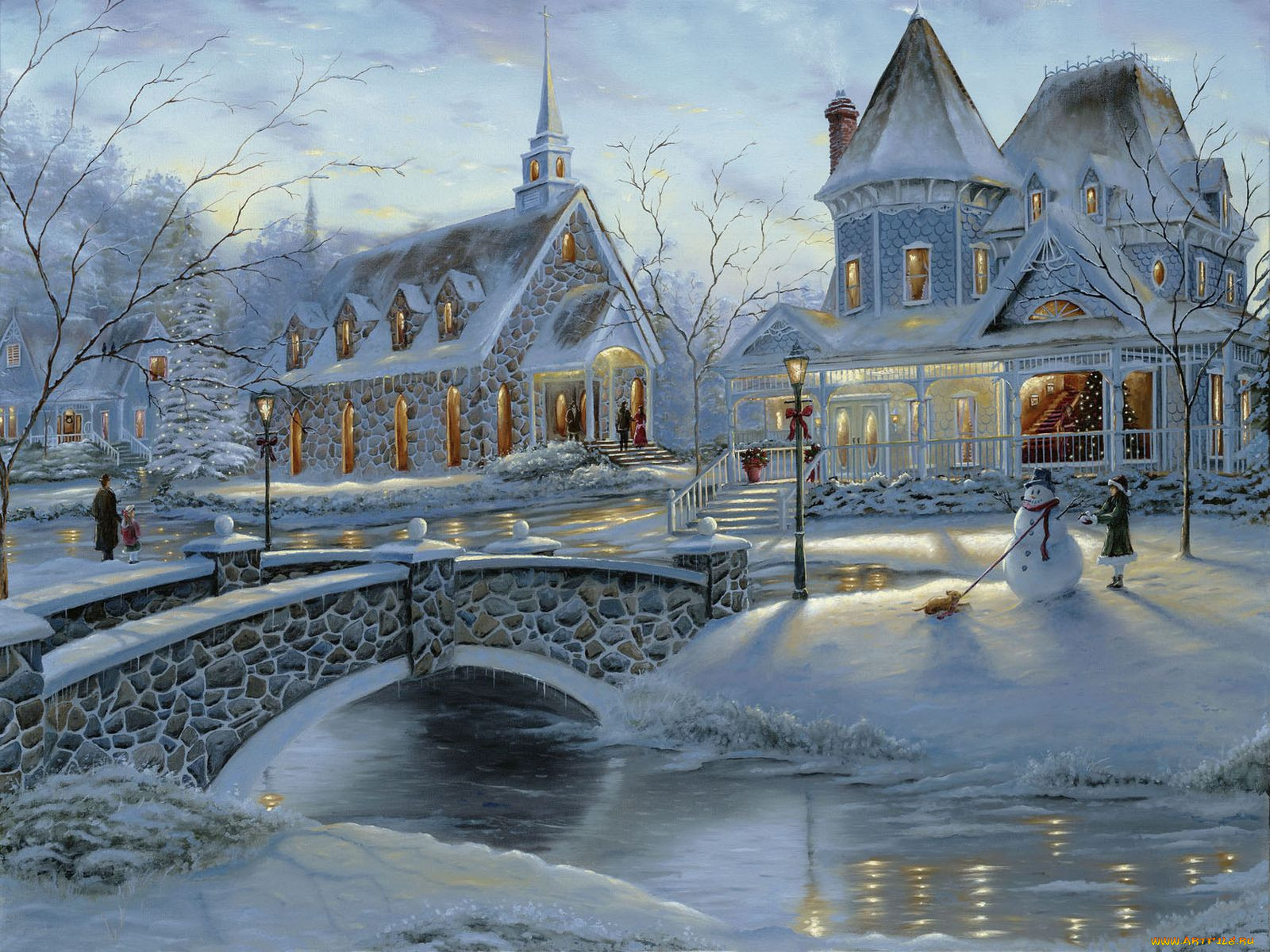 Зимняя рисованная картинка